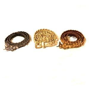 Braided leather skinny belts bundle of 3